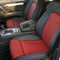 Audi q7 s-line 7 seat black leather with red inserts  silver stitching 003