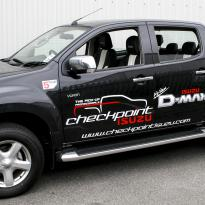 Isuzu dmax bespoke black leather with white sections  stitching 001