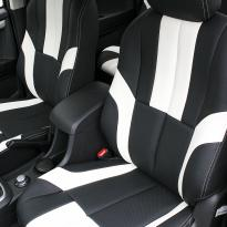 Isuzu dmax bespoke black leather with white sections  stitching 003