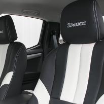 Isuzu dmax bespoke black leather with white sections  stitching 005