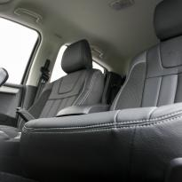 Isuzu dmax blade black leather with fabric inner wings  silver stitching 005