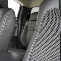 Isuzu dmax blade black leather with fabric inner wings  silver stitching 006