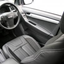 Isuzu dmax blade black leather with fabric inner wings  silver stitching 010