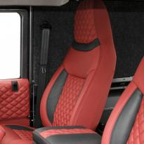 Landrover defender 90 xs coral red leather with quilted inserts 002
