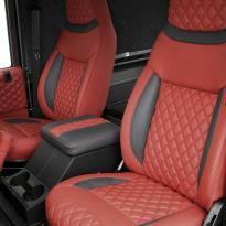 Landrover defender 90 xs coral red leather with quilted inserts 003