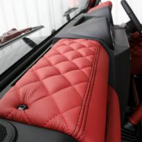 Landrover defender 90 xs coral red leather with quilted inserts 005