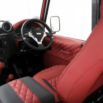 Landrover defender 90 xs coral red leather with quilted inserts 010