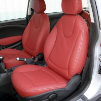 Mini r56 hatch standard koral red with silver stitching 002