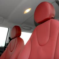 Mini r56 hatch standard koral red with silver stitching 006