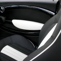 Mini r55 clubman sport lounge design black with white section  stitching 001