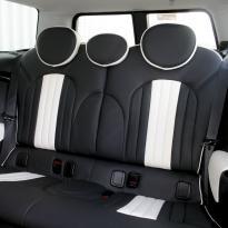 Mini r55 clubman sport lounge design black with white section  stitching 004