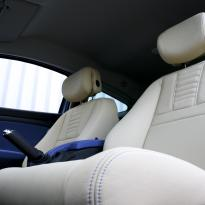 Renault megane coupe dynamique artisan cream with blue sections  stitching 003