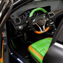 Mercedes cclass 204 c63 amg orange  green leather seats13