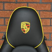 Porsche 911 black leather seat with yellow piping 2