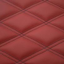 Quilted red leather with black double stitching