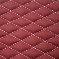Quilted red leather with white single stitching