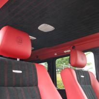 Mercedes benz g wagon classic red nappa leather and black alcantara inserts with bespoke quilting(40)