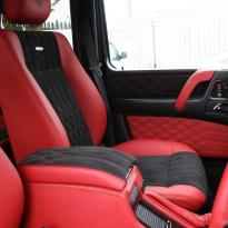 Mercedes benz g wagon classic red nappa leather and black alcantara inserts with bespoke quilting(44)