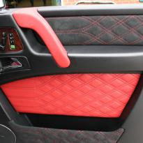Mercedes benz g wagon classic red nappa leather and black alcantara inserts with bespoke quilting(50)
