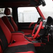 Mercedes benz g wagon classic red nappa leather and black alcantara inserts with bespoke quilting(52)
