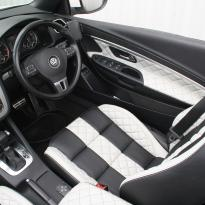 Vw eos sport black leather with portland grey guilted centre stripe and inner wings(4)