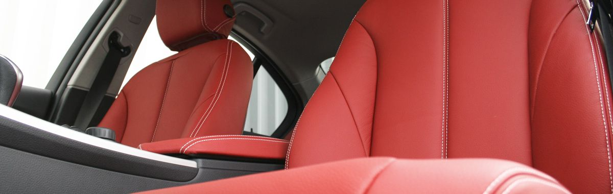 Bmw f30 saloon se dakota coral red with white stitching