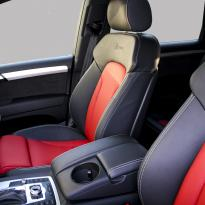 Audi q7 s-line 7 seat black leather with red inserts  silver stitching 001