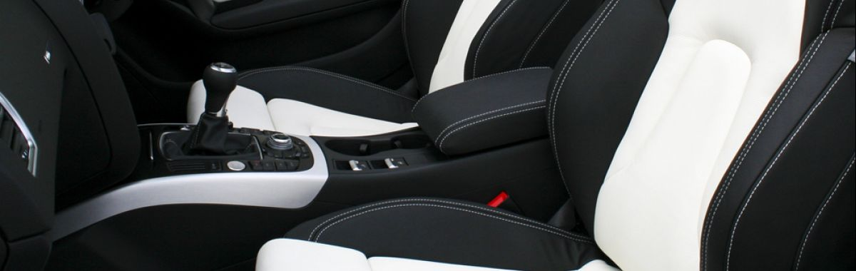 Audi a5 cab s-line black leather seats with white stitching detail