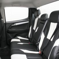 Isuzu dmax bespoke black leather with white sections  stitching 008