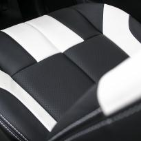 Isuzu dmax bespoke black leather with white sections  stitching 011