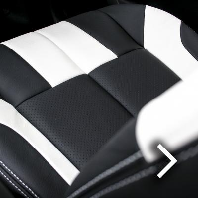 Isuzu dmax bespoke black with white sections  stitching thumbnail