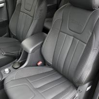 Isuzu dmax blade black leather with fabric inner wings  silver stitching 002