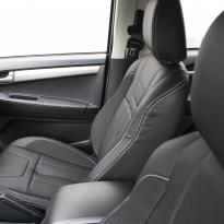 Isuzu dmax blade black leather with fabric inner wings  silver stitching 004