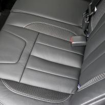 Isuzu dmax blade black leather with fabric inner wings  silver stitching 009