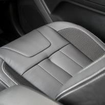 Isuzu dmax blade black leather with fabric inner wings  silver stitching 011