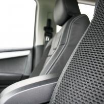 Isuzu dmax blade black leather with fabric inner wings  silver stitching 012
