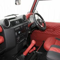 Landrover defender 90 xs coral red leather with quilted inserts 006