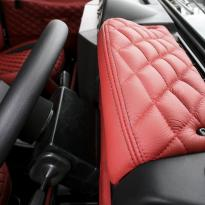 Landrover defender 90 xs coral red leather with quilted inserts 012