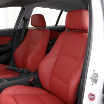 Bmw e87 sport nl dakota coral red with white stitching 010