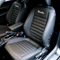 Vw beetle sport black with silver stitching 003