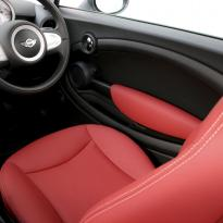 Edited mini r56 hatch standard koral red with silver stitching 009