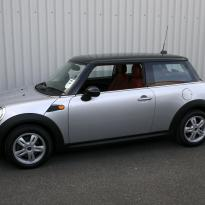 Mini r56 hatch standard koral red with silver stitching 001