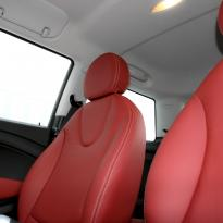 Mini r56 hatch standard koral red with silver stitching 003