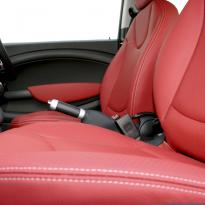 Mini r56 hatch standard koral red with silver stitching 004