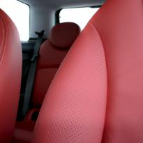 Mini r56 hatch standard koral red with silver stitching 008