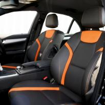 Mercedes 204 C-Class Sport Black Leather With Orange Sections & Stitching 3
