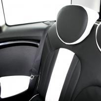 Mini r55 clubman sport lounge design black with white section  stitching 002