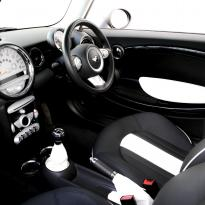 Mini r55 clubman sport lounge design black with white section  stitching 007