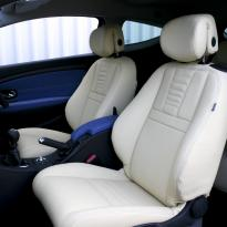 Renault megane coupe dynamique artisan cream with blue sections  stitching 002