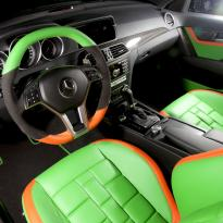 Mercedes cclass 204 c63 amg orange  green leather seats2